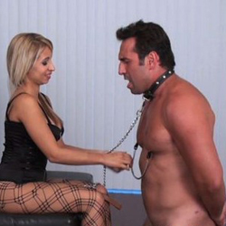 Seductive blonde curvy chick and her slave 54. Her new boyfriend had no idea that she is into BDSM games and all he wanted was to have sex her and maybe cumshot all over those bouncing round boobs but before that happens, he will have to do what he is told, and the fact that he has never been wearing a collar around his neck has made him even hornier and ready to get on all fours so this mistress can sit on his back and spank his ass.