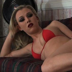 Face sitting fetish 37. Meet sophisticated blonde Gloria, one of the most popular mistress princesses online and this time she is wearing a red micro bikini which is barely covering her amazing body as she is teasing her slave who has a leather collar around his neck and who is naked while kneeling on the floor and waiting to see what's going to happen next.