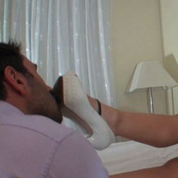 The boy toy licks her toes 37. He is completely submissive to his three years older wife and would do anything for her