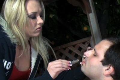 Cigarette deep up his booty 36 That is why he gave his best in his first appearance in front of the cameras. His tongue was working like never before and he was giving his best to lick her feet while she didn?t even take off her boots, and that was driving him crazy..