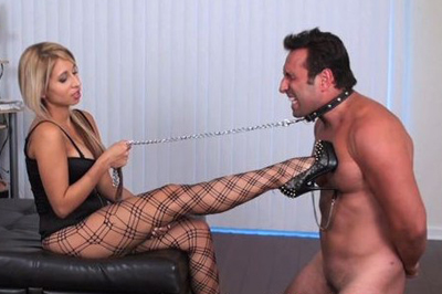 Busty babe and her slave 77. There were bondage devices hanging from his heavy nipples while he was screaming in pain and didn't know what to expect and what's orgasm next.