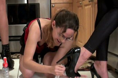Bdsm cinderella in the kitchen 23. Now she's eager to please and doesn't think about resisting at all, her suit revealing all of her sensitive spots while she works in the kitchen and her girls and step mom giving her a foot to lick or gulp on from time to time, just to keep her properly motivated.